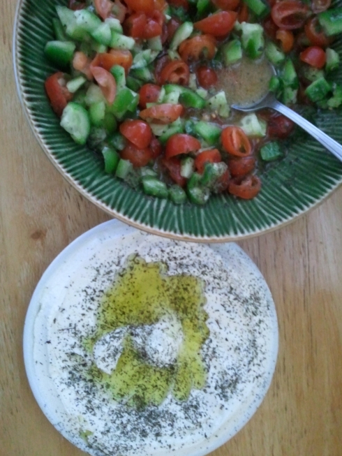 Fresh tomato, cucumber and jalapeño salad and Greek yogurt.